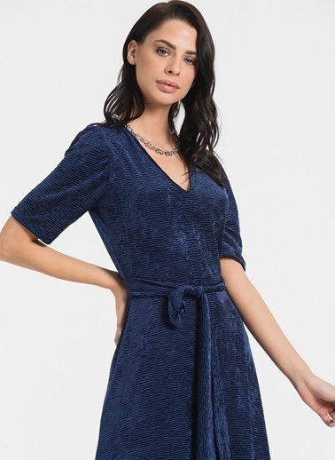 Styletag Kadife Jakarlı Elbise Lacivert